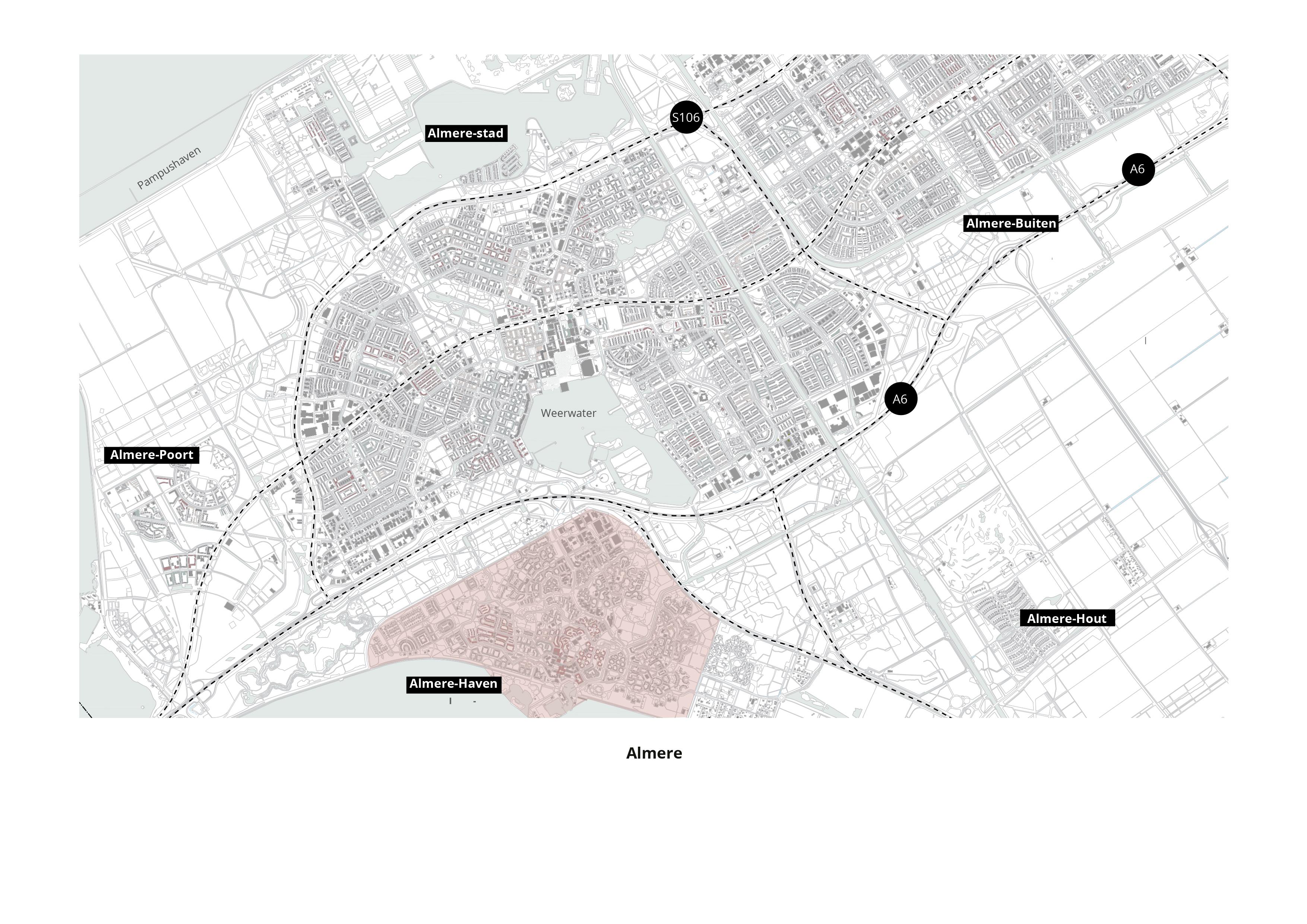 Koppelknopen Almere Haven – Ligging in de stad