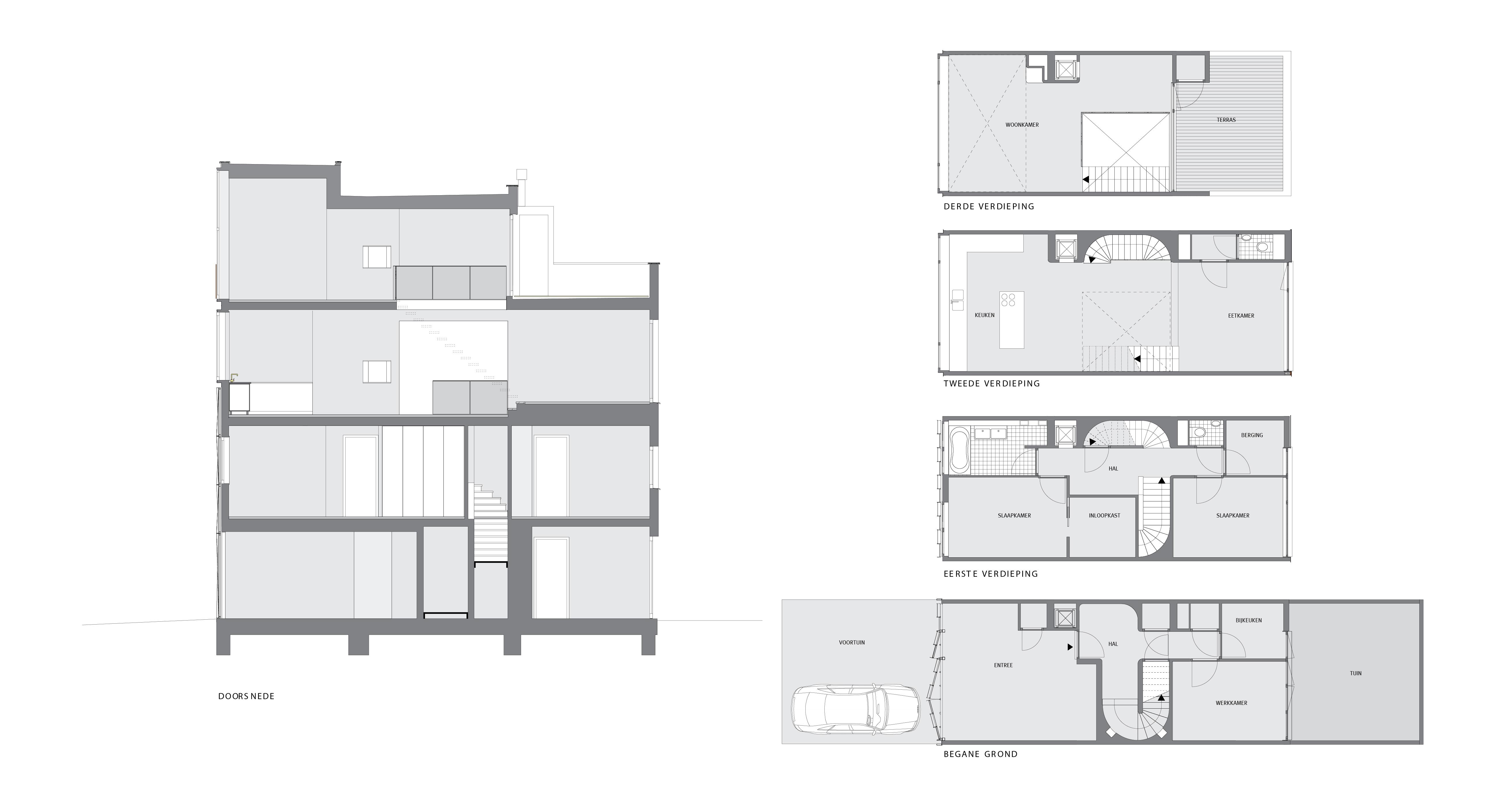 Huis BS plattegronden en doorsnede